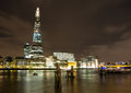 London Night skyline, River Thames and the Shard Royalty Free Stock Photo