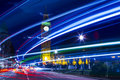 London at night speed motion blue light city street abstract light Stock Images