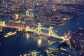 London at night with urban architectures and tower bridge Stock Photography