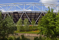 London olympic stadium and the city mill river a view of Royalty Free Stock Photo