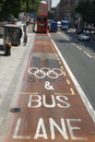 London Olympic traffic restriction lane Royalty Free Stock Image