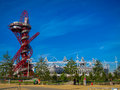 London olympics games arcelor mittal tower an and olympic stadium against a blue sky Royalty Free Stock Photos
