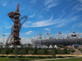 London olympics games arcelor mittal tower an and olympic stadium against a blue sky Stock Photography