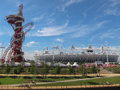 London olympics games arcelor mittal tower an and olympic stadium against a blue sky Stock Image