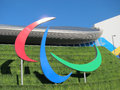 London olympics games paralympic symbol aquat arcelor mittal tower and olympic stadium against a blue sky Stock Image