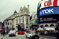 London piccadilly circus uk sep street view on september in uk built in it is the major shopping entertainment areas and Royalty Free Stock Photos