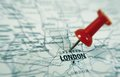 London pin closeup of a map with with red Stock Photos