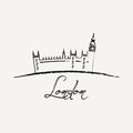 London poster abstract vintage background brush illustration with big ben Royalty Free Stock Photography