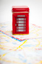 London public phone box on the city map Royalty Free Stock Photography