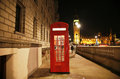 London red phone booth telephone at night big ben in the distance is one of the most famous icons Royalty Free Stock Photography
