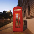 London red phone booth telephone at night is one of the most famous icons Royalty Free Stock Images