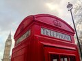 London red telephone booth big ben and houses of parliament are the most well known symbols of Stock Image