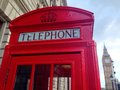 London red telephone booth big ben and houses of parliament are the most well known symbols of Stock Photography