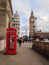 London red telephone booth big ben and houses of parliament are the most well known symbols of Stock Photo