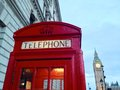 London red telephone booth big ben and houses of parliament are the most well known symbols of Stock Images