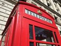 London red telephone booth famous is one of the most well known symbols of Stock Image