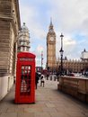 London red telephone booth is one of the most well known symbols of Stock Photography