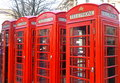 London red telephone booths the famous of Stock Image