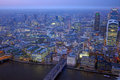 London rooftop view panorama at sunset with urban architectures thames river night Royalty Free Stock Image