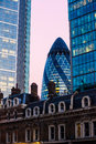 London s gherkin the in the banking district of at dusk Royalty Free Stock Photo