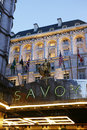 London savoy hotel march outside view of britain s first luxury in central opened in and closed in for renovations Stock Images
