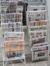 LONDON - SEP 2019: International newspapers stand Royalty Free Stock Photo
