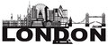 London Skyline Black and White Text vector Illustration