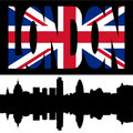 London Skyline and flag text Royalty Free Stock Photo