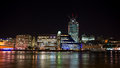 London skyline at night uk image of Stock Image