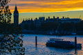London skyline at a picture taken from the millennium bridge sunset looking across the thames the river thames Royalty Free Stock Photos