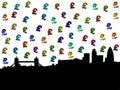 London skyline with pound symbols Royalty Free Stock Photo