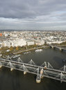 London skyline seen from london eye include hungerford bridge millennium wheel Stock Photo