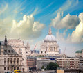 London skyline with st paul cathedral and surrounding buildings Stock Photography