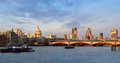 London skyline at sunset with st paul s cathedral and the financial district Stock Image