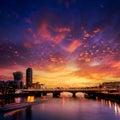 London skyline sunset on Thames river Royalty Free Stock Photo