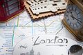 London souvenirs tube map and with icons Royalty Free Stock Photo