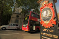 London street scene taxi and routmaster bus in westminster in central uk Royalty Free Stock Image