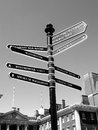 London street signpost retro giving directions to some of s most famous landmark attractions Royalty Free Stock Photos