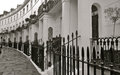 London street with terrrace housing beautiful repeating patterns of this terrace Royalty Free Stock Photo