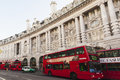 London street view double decker buses on a in Stock Images