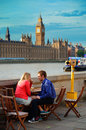 London street view uk sep people rest at waterfront on september in uk is the world s most visited city and the capital of uk Stock Photos