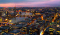 London at sunset. City background. Night lights Westminster side Royalty Free Stock Photo