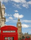 London telephone booth and big ben two of the best known icons of the city Stock Photography