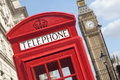 London British UK red telephone box booth big ben Royalty Free Stock Photo