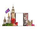 London tourist and business collage london s famous buildings against of white background Stock Images