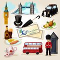 London touristic set decorative icons with cartoon landmarks and symbols isolated vector illustration Stock Photo