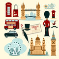 London touristic set with flat telephone booth tower bridge and cab isolated vector illustration Royalty Free Stock Image