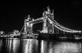 London tower bridge illuminated over river thames at night Royalty Free Stock Photography