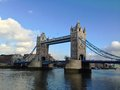 London tower bridge over the thames river is one of the most well known symbols of Stock Photo