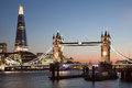 London tower bridge and the shard at night Royalty Free Stock Image